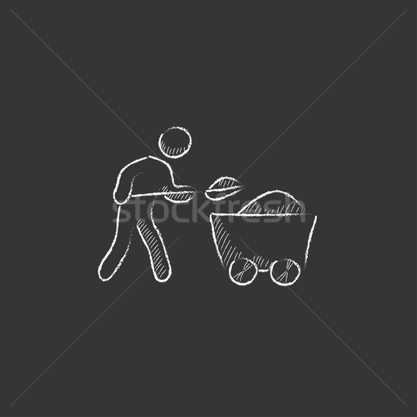 Mining worker with trolley. Drawn in chalk icon. Stock photo © RAStudio