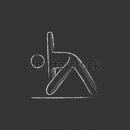 Kikötő állvány rajzolt kréta ikon kézzel rajzolt Stock fotó © RAStudio