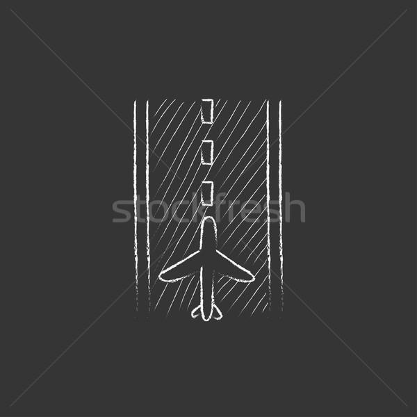Aeropuerto pista tiza icono dibujado a mano Foto stock © RAStudio