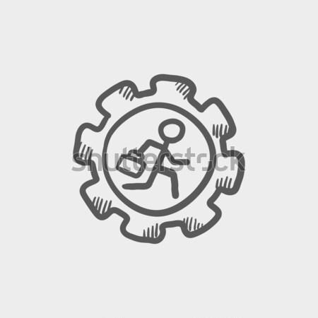 Man running inside the gear line icon. Stock photo © RAStudio