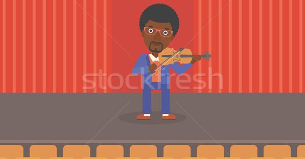 Stock fotó: Férfi · játszik · hegedű · színpad · vektor · terv