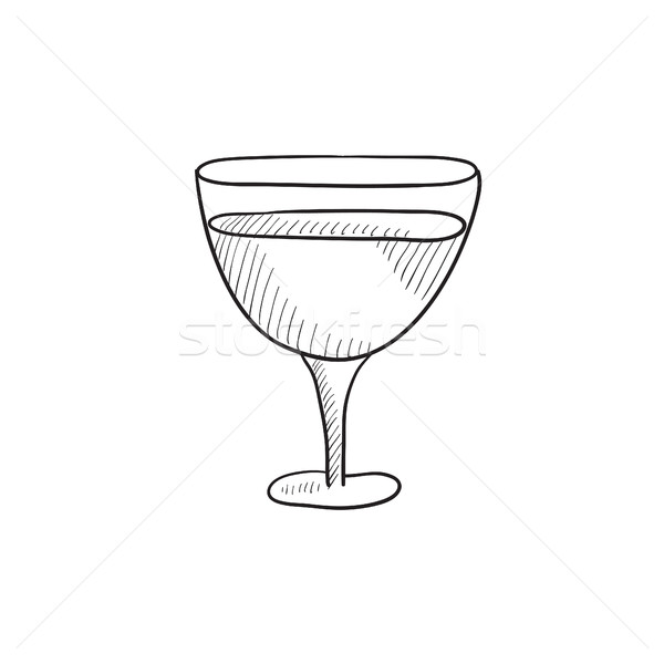 Glass of wine sketch icon. Stock photo © RAStudio