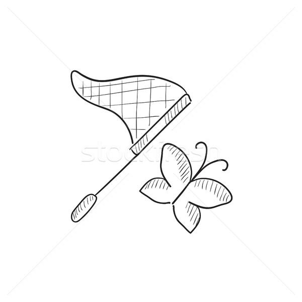 бабочка чистой эскиз икона вектора изолированный Сток-фото © RAStudio