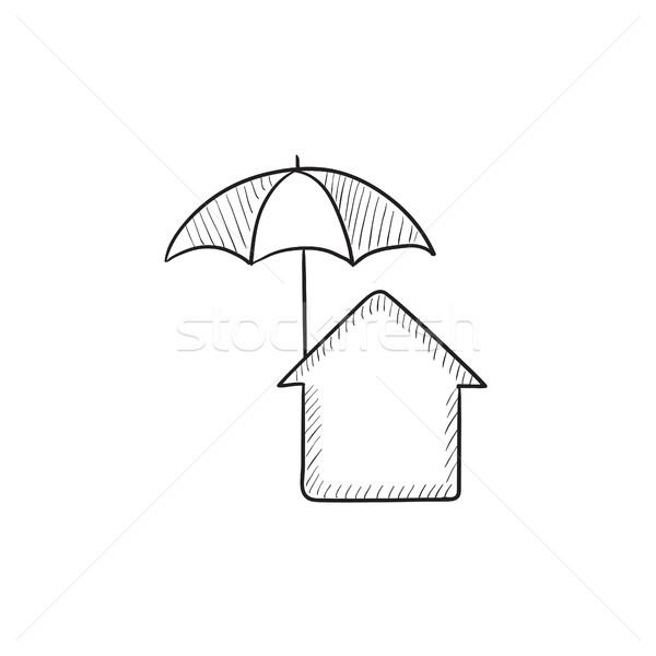 House under umbrella sketch icon. Stock photo © RAStudio