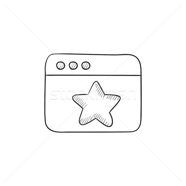 Navegador janela estrela assinar esboço ícone Foto stock © RAStudio