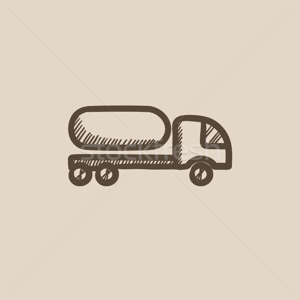 Carburante camion sketch icona vettore isolato Foto d'archivio © RAStudio