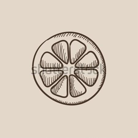 Slice of lemon sketch icon. Stock photo © RAStudio