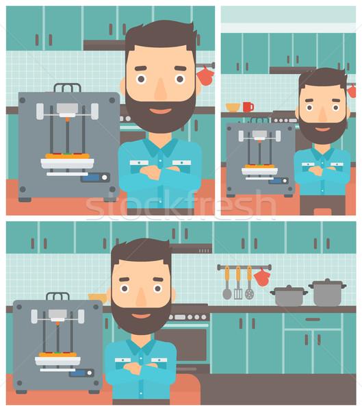 Mann drei Drucker Hipster arbeiten Stock foto © RAStudio