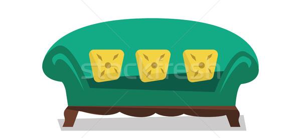 Green chaise lounge vector illustration. Stock photo © RAStudio