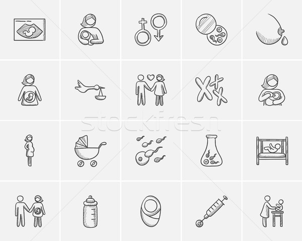 Maternity sketch icon set. Stock photo © RAStudio