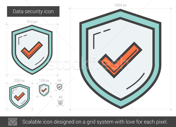Adatbiztonság vonal ikon vektor izolált fehér Stock fotó © RAStudio