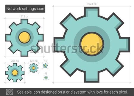 Hálózat beállítások vonal ikon vektor izolált Stock fotó © RAStudio