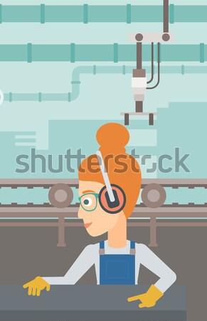 女性 作業 金属 キーを押します マシン アジア ストックフォト © RAStudio