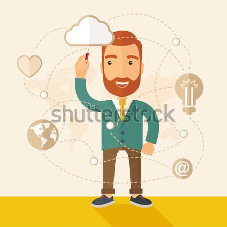Businessman illustrating his business plan. Stock photo © RAStudio