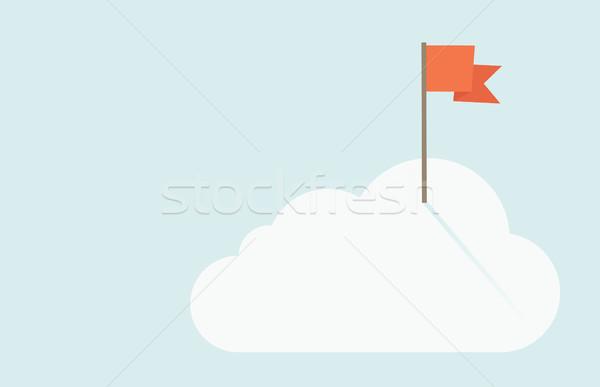 Piros zászló felső felhő kortárs stílus Stock fotó © RAStudio