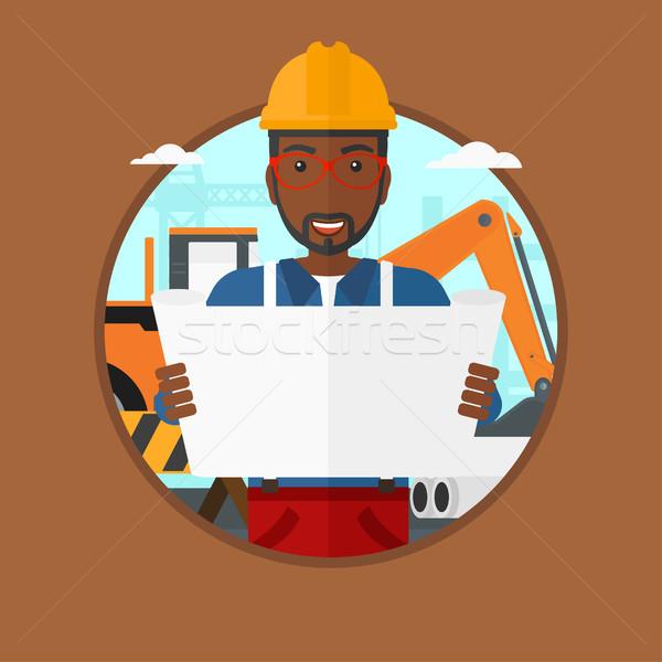 Stockfoto: Ingenieur · kijken · blauwdruk · bouwplaats · man