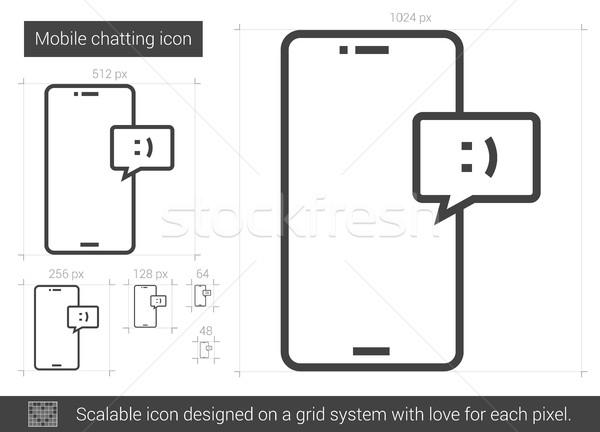 Mobiele lijn icon vector geïsoleerd Stockfoto © RAStudio