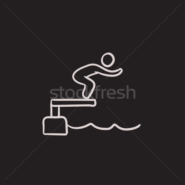 Pływak skoki basen szkic ikona wektora Zdjęcia stock © RAStudio