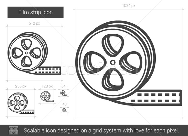 Filmszalag vonal ikon vektor izolált fehér Stock fotó © RAStudio