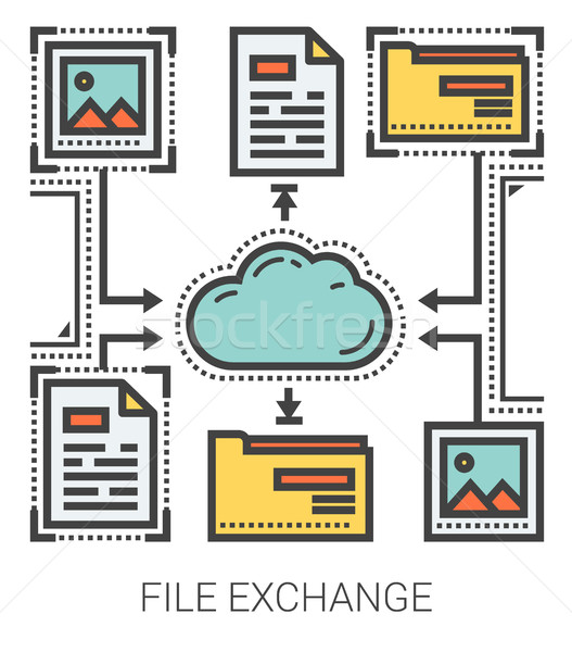 File exchange line infographic. Stock photo © RAStudio