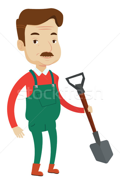 Farmer with shovel vector illustration. Stock photo © RAStudio