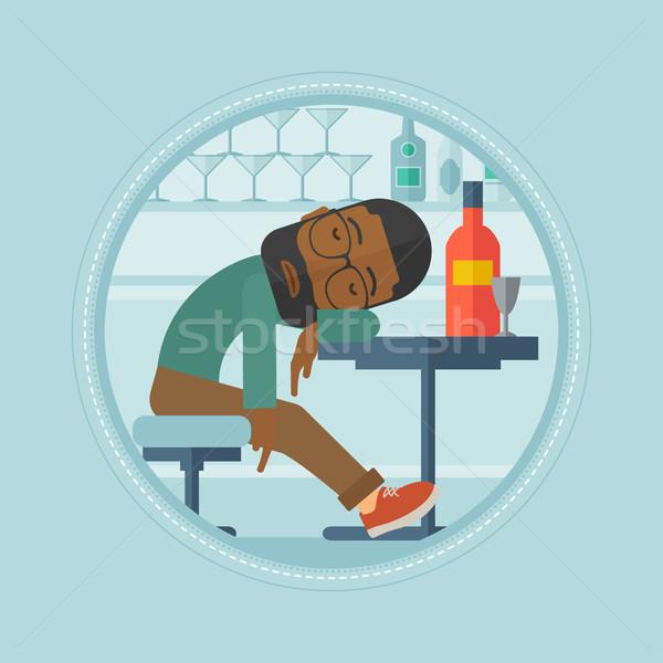 Bêbado homem adormecido bar cliente Foto stock © RAStudio