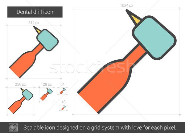 Diş matkap hat ikon vektör yalıtılmış Stok fotoğraf © RAStudio