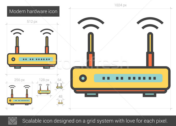 Modem hardware line icon. Stock photo © RAStudio