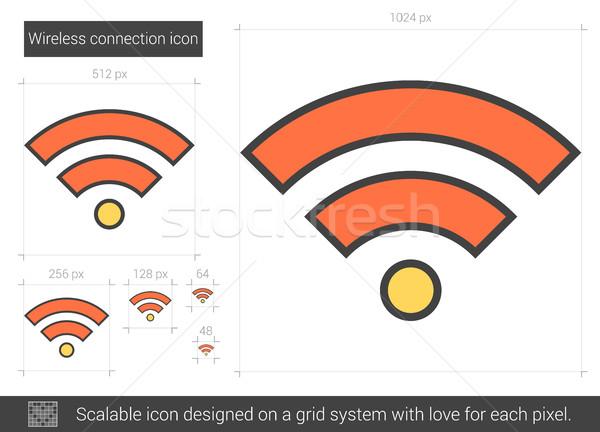 Stok fotoğraf: Kablosuz · bağlantı · hat · ikon · vektör · yalıtılmış