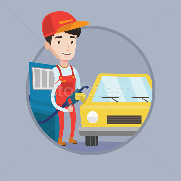 Worker of gas station filling up fuel into car. Stock photo © RAStudio
