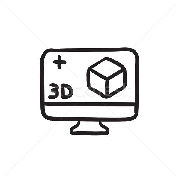 Bilgisayar monitörü 3D kutu kroki ikon vektör Stok fotoğraf © RAStudio