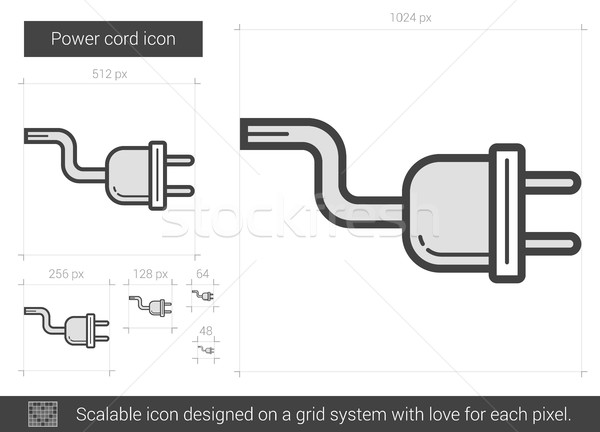 Pouvoir cordon ligne icône vecteur isolé Photo stock © RAStudio