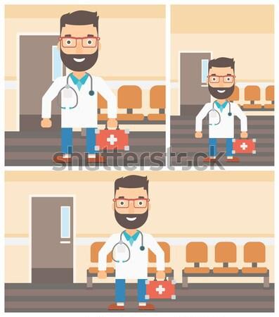Vetor conjunto médico homem cama de hospital Foto stock © RAStudio