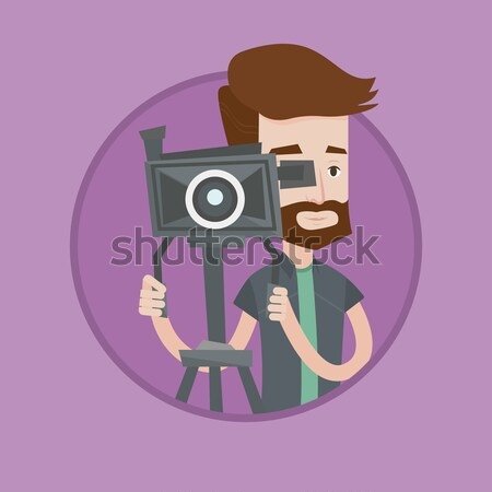 Filmcamera asian naar jonge Stockfoto © RAStudio