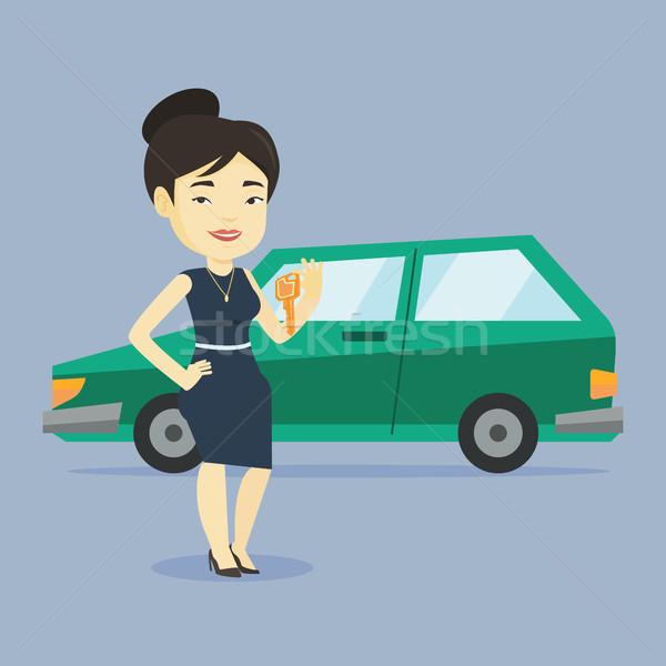 женщину ключами Новый автомобиль молодые азиатских Сток-фото © RAStudio
