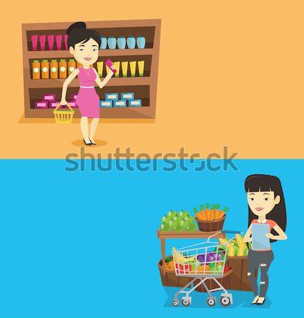 2 ショッピング バナー スペース 文字 ベクトル ストックフォト © RAStudio