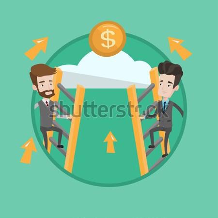 два бизнесмен скалолазания успех деньги Сток-фото © RAStudio