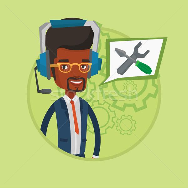 Technische ondersteuning exploitant dienst hoofdtelefoon ingesteld Stockfoto © RAStudio