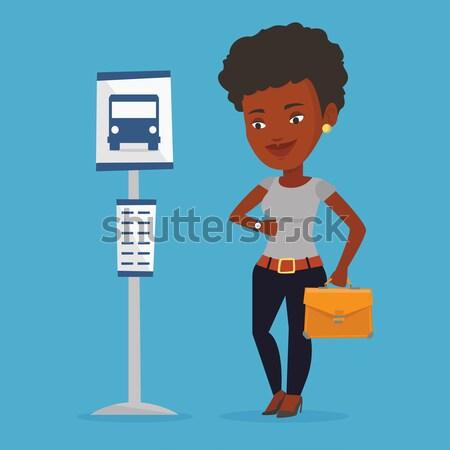 女性 待って バス停 アフリカ ブリーフケース 女性実業家 ストックフォト © RAStudio