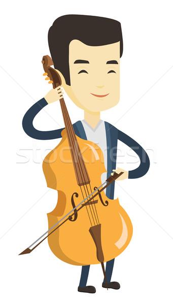 Człowiek gry wiolonczela młodych szczęśliwy asian Zdjęcia stock © RAStudio