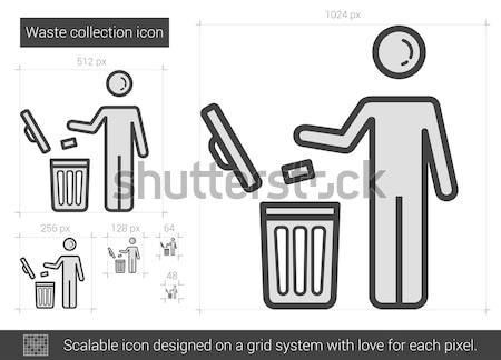 Atık toplama hat ikon vektör yalıtılmış Stok fotoğraf © RAStudio