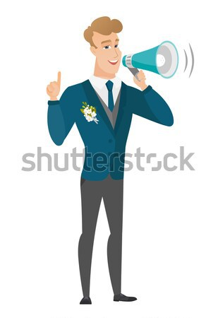 Young caucasian businessman making announcement . Stock photo © RAStudio