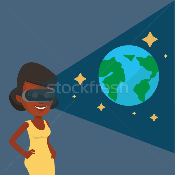 Woman in vr headset getting in open space. Stock photo © RAStudio