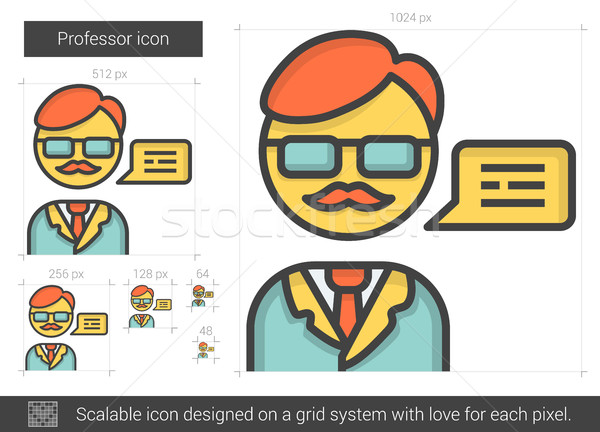 Profesor line ikona wektora odizolowany biały Zdjęcia stock © RAStudio