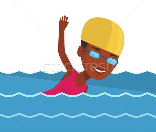 женщину плаванию молодые африканских Cap Сток-фото © RAStudio