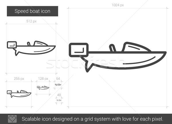Snelheid boot lijn icon vector geïsoleerd Stockfoto © RAStudio