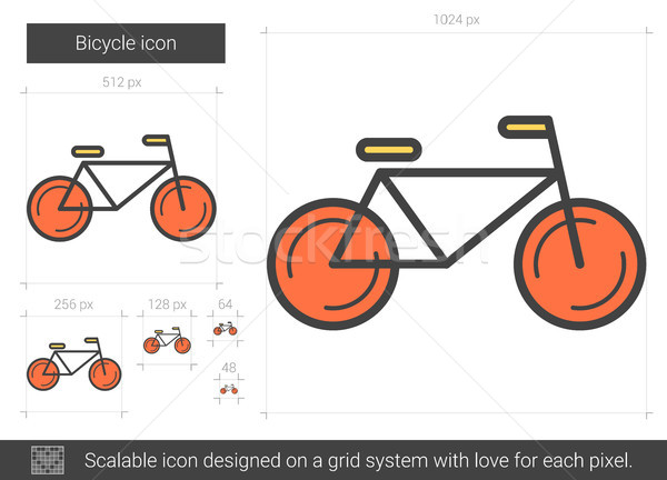 Foto stock: Bicicleta · línea · icono · vector · aislado · blanco