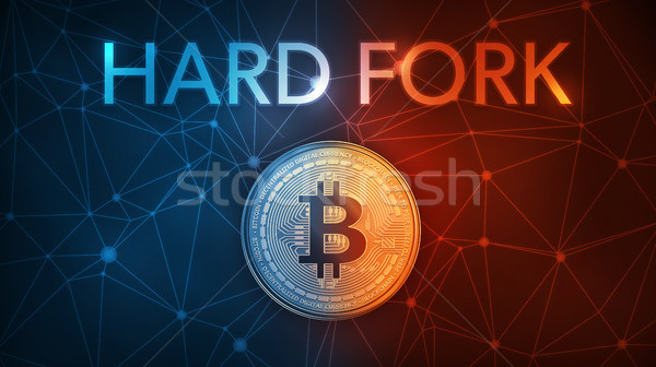 Gold bitcoin coin hard fork in fire flame, lightning and water splashes. Stock photo © RAStudio