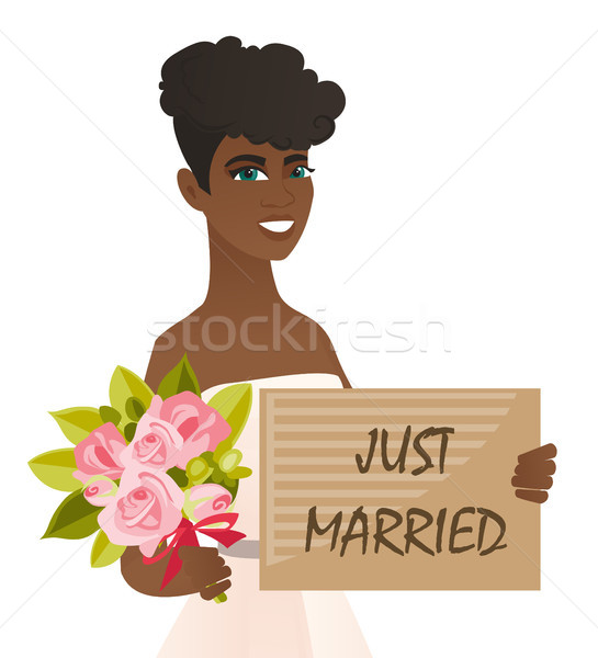 African bride holding plate with text just married Stock photo © RAStudio
