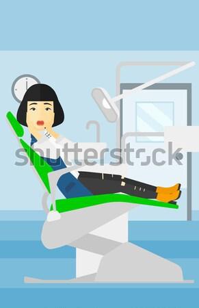 Beteg kórházi ágy oxigénmaszk nő orvosi eljárás csepp Stock fotó © RAStudio